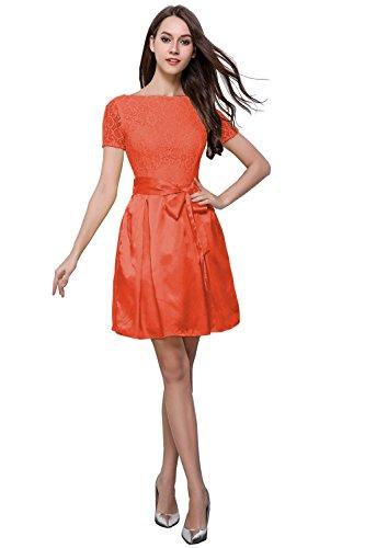 orange satin prom dress - 6