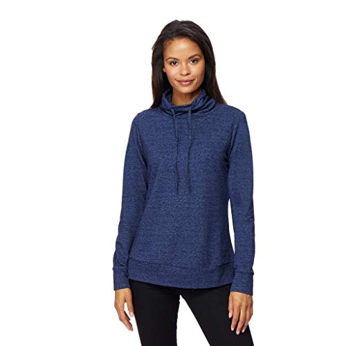 Womens Faux Cashmere Quilted Funnel Neck Pullover Top,Heather Dress Blue, -