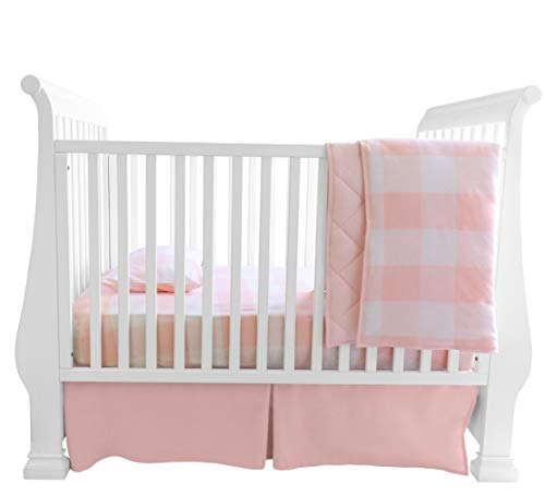 Baby Crib Set 4 pc, Crib Sheet,Quilted Blanket, Crib Skirt & Baby Pillow Case - Gingham Design in Pink