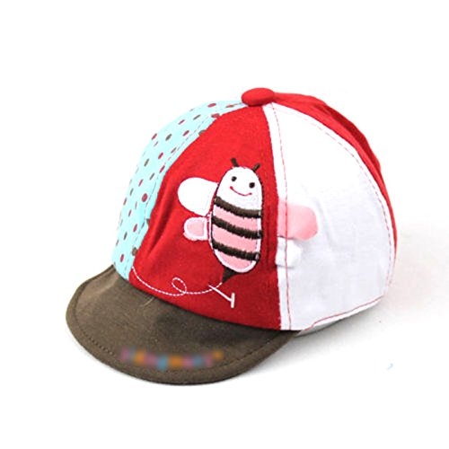 Price comparison product image HuaYang Flying Bee Print Cotton Baby Care Sun Head Hat Cap(Red)