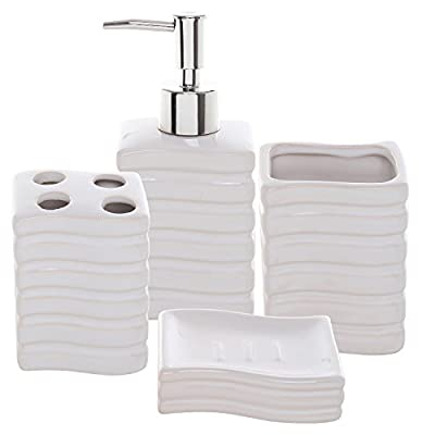 4 Pc Ribbed White Ceramic Bath Accessory Set/Toothbrush Holder, Tumbler, Lotion Dispenser & Soap Dish - An elegant and modern 4 piece bathroom accessory set made of sturdy ceramic materials and a chic white finish. Complete set includes 1 pump-top liquid soap / lotion dispenser, 1 tumbler, 1 soap dish, and 1 toothbrush holder with 4 openings. Perfect for adding style and convenience to your bathroom counter. - bathroom-accessory-sets, bathroom-accessories, bathroom - 419sN5EAbnL. SS400  -
