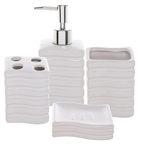 4 Pc Ribbed White Ceramic Bath Accessory Set / Toothbrush Holder, Tumbler, Lotion Dispenser & Soap Dish (Ceramic Bathroom Accessories Sets)
