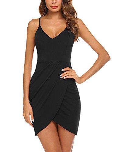 da717c9bf3 Sherosa Women s Sexy Wrap Deep V-Neck Adjustable Spaghetti Straps Summer Party  Dress (L