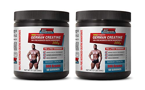 Bodybuilding Supplement Stack - Bodybuilding Supplements for Men Muscle Grow - German CREATINE - 100% Pure MICRONIZED CREATINE MONOHYDRATE - Creatine for Mass gain - 2 Cans 600 Grams (120 Servings)