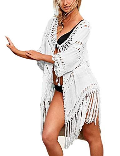 Bsubseach White Crochet Bathing Suits Swimsuit Cover Ups Swimwear for Women Tassel Kimono Cardigan