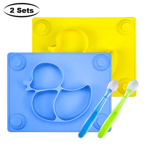 Baby Placemat with Baby Spoons(2 Sets) - 2X Silicone Baby Plates with Suction Cups Plus 2X Silicone Infant Feeding Spoons for Toddlers,Kids and Children (Blue&Yellow)