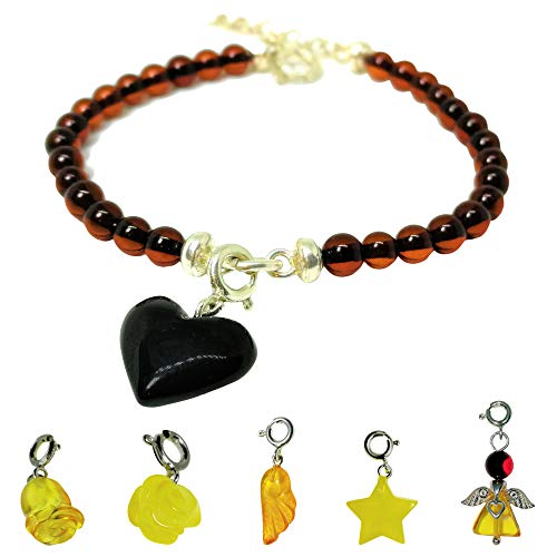 Amberito Baltic Amber Bracelet for Women Adjustable Size 6.7 to 7.5 inches Amber Charm Heart, Rose, Angel, Tulip, Star, Wing Pendant with Cherry Beads