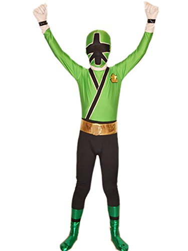 Wraith of East Power Rangers Costume Kids Cosplay Halloween Spandex Zentai (Small, Green)
