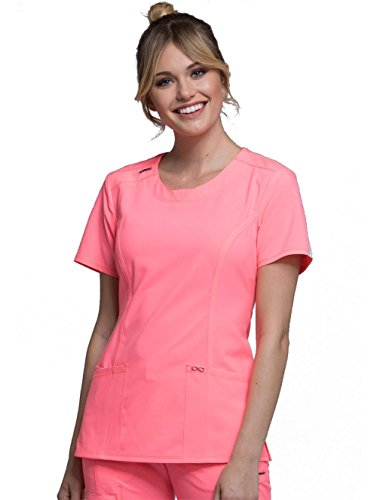 - Cherokee Infinity Women's Split Round Neck Solid Scrub Top Medium Coral Craze