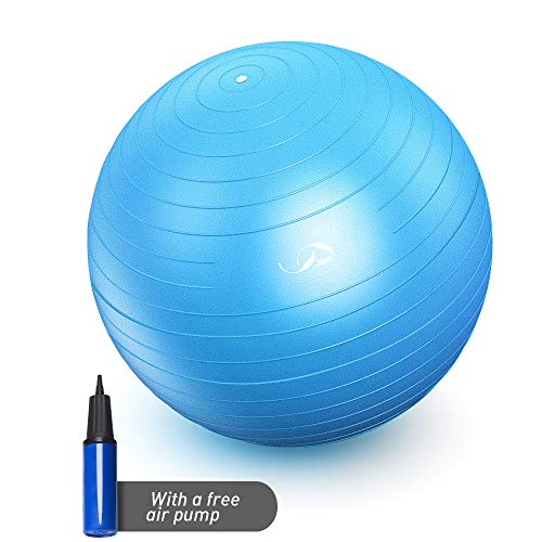 JBM Exercise Yoga Ball with Free Air Pump (4 Sizes 5 Colors) 400 lbs Anti-Burst Slip-Resistant Yoga Balance Stability Swiss Ball for Fitness Exercise Training Core Strength (Blue, ()