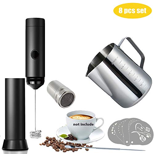 (Aicai Milk Frother Coffee Art Set, 8pcs Stainless Steel Scale Cup + Whisk + Pattern Needle with Powder Coco Shaker + Stencils for Coffee, Latte, Cappuccino, Hot Chocolate)