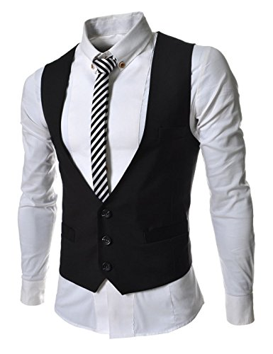 TheLees (TLV1) Mens Business Slim fit 3 Button Vest Waist Coat Black US L(Tag size - 3 Coat Button