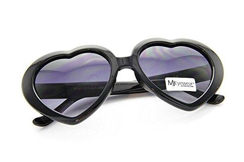 80's - 'Love' Heart shaped sunglasses (More Colors) - Red / Smoke (BLACK, BLACK) (Cupid Men Costume)