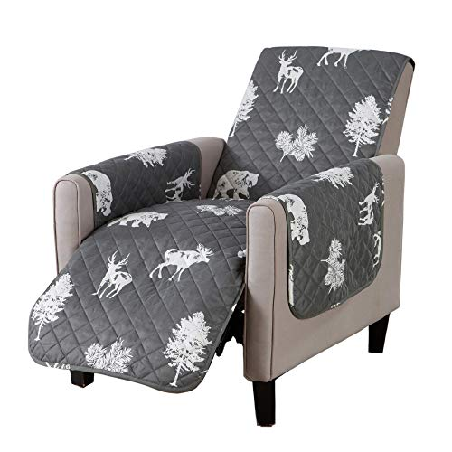 Sofa Saver Lodge Reversible Stain Resistant Printed Furniture Protector. Perfect for Pets and Kids. Adjustable Elastic Straps Included. (Recliner, Forest Animals) -