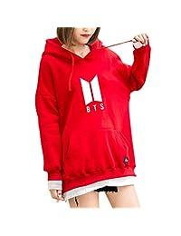 JAGENIE BTS Hoodie Bangtan Spring Hooded Sweatshirt Hip Hop Patchwork Hoodies with Pocket Red M