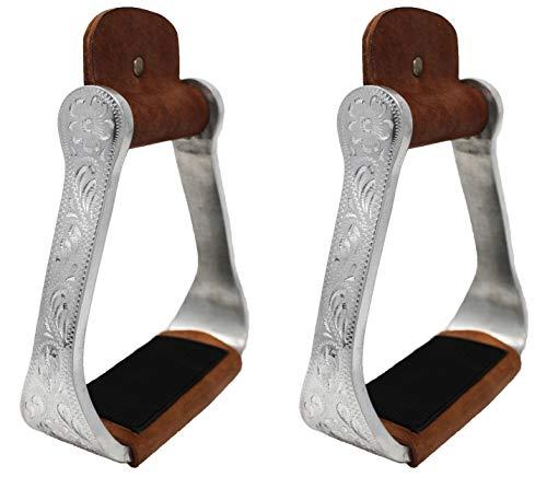 Challenger Tack Horse Saddle Engraved Aluminum Western Riding Barrel Stirrups Leather ()