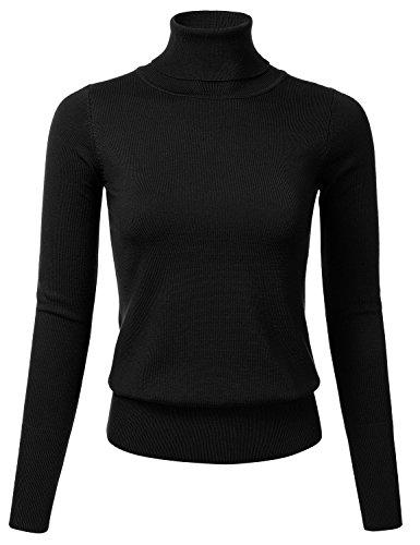 FLORIA Women Stretch Knit Long Sleeve Turtleneck Top Pullover Sweater BLACK XL