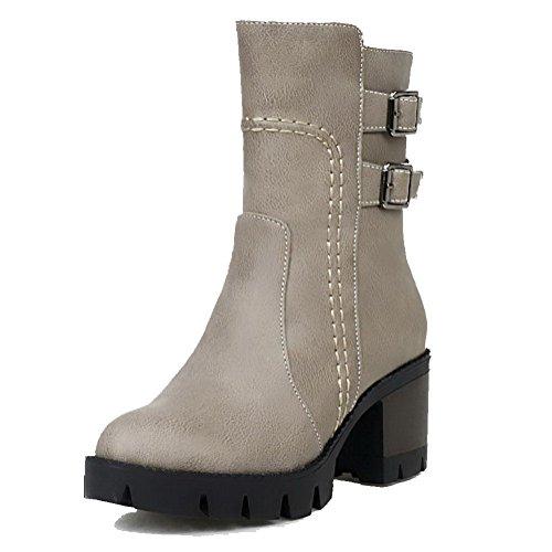 Toe Heels Zipper AgooLar Soft Kitten Women's Closed Solid Material Gray Round Boots wEY6ZE