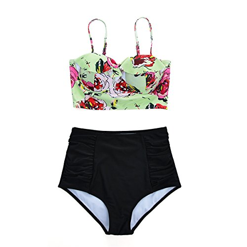 Chain Strap Maillot (Zando Flower Printed Two Pieces Bikini Set High Waist Swimwear Swimsuit with Adjustable Straps for Women and)