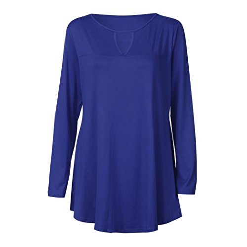 Unie Femmes Shirt Mode Manches Couleur Sexy Top Chemise T Longue Blouse Bleu Bringbring 8rF86n