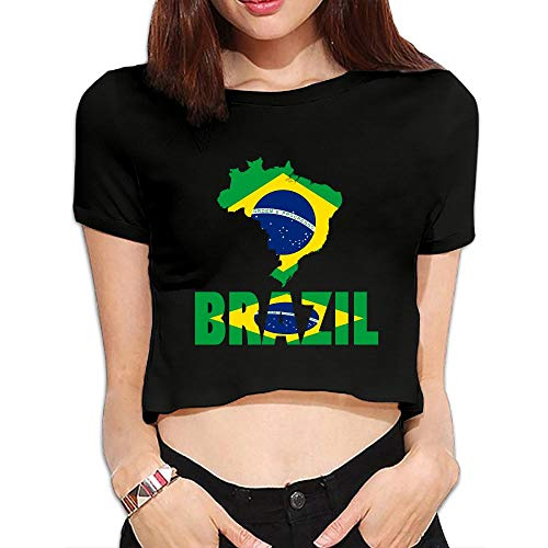 Cujayz1 Womens Girls Sexy Casual Short Sleeve Brazil Map Flag Scoop Neck Crop Top Cotton Tees by Cujayz1