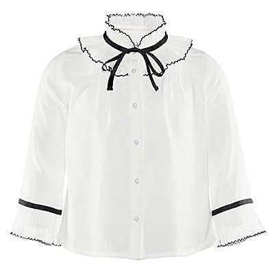 Girls Blouse School Uniform Shirts Princess Blouses Ruffled Long Sleeve Blouse Bow Tops Base Shirt