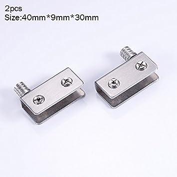 ZREAL 1//2 4pcs de Acero Inoxidable para 5-8mm Puertas de Cristal de Vidrio Abrazaderas de Pivot Bisagras de Puerta