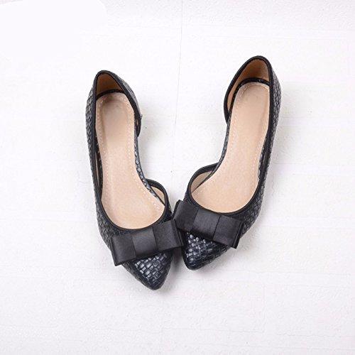 Femmes Mince Papillon Travail Chaussures Noir Tissage De Ressort Trente Nud Travail Chaussures Kphy Pour cinq Printemps 5APA4ycqpS