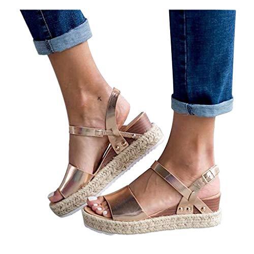 (Cenglings Espadrilles Sandals,Women Open Toe Slip On Platform Sandals Buckle Strap Wedges Shallow Beach Shoes (8.5, Gold))