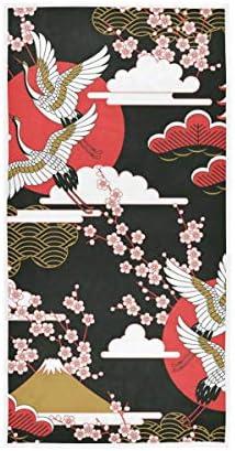 LUPINZ Japanse Kranen Vliegende Handdoek Handdoek Gezicht Handdoek 30x15 in
