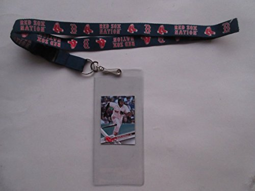 BOSTON RED SOX NATION LANYARD WITH TICKET HOLDER PLUS COLLECTIBLE PLAYER CARD (Tickets Red Sox)