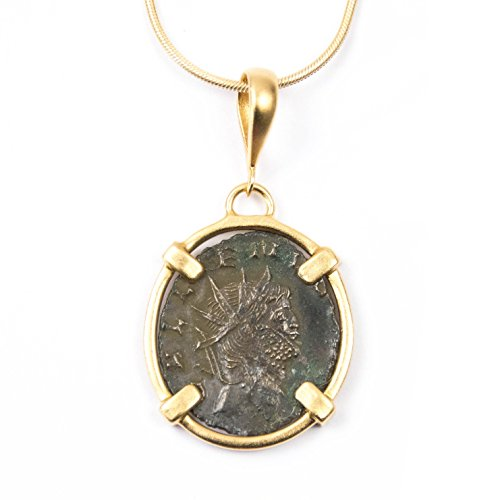 Real Ancient Roman Coin Charm Necklace with 14kt Gold Filled Chain - 18 inches Long Handmade Gallienus Charm Necklace by Miller Mae Designs 14kt Byzantine Design