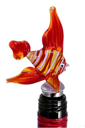 Ruby Red Hand Blown Art Glass Fish Wine Bottle