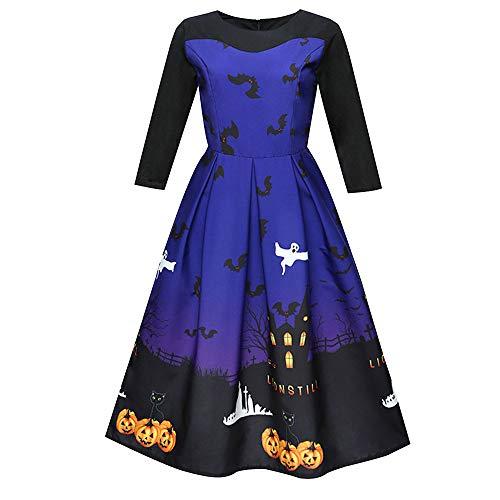 iDWZA Women's Halloween Print 3/4 Sleeve Evening Party Prom A-Line Swing Dress(XL,Blue-1) -