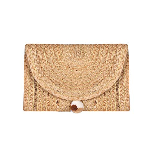 Boho Handwoven Jute Clutch Purse with Confetti Beads (Gold)