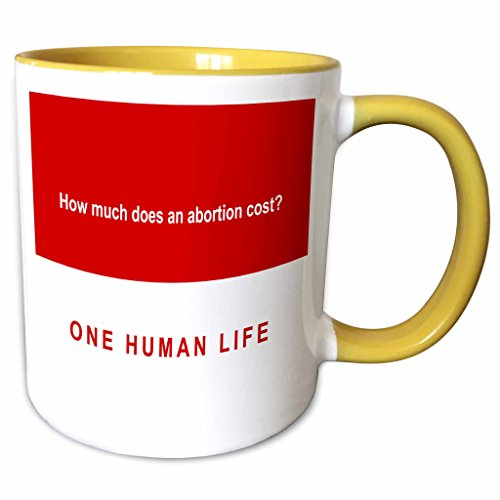 3dRose Mark Andrews ZeGear Spiritual - How Much Does Abortion Cost on Red Background - 11oz Two-Tone Yellow Mug (mug_60813_8)