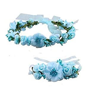 Zaptex Wedding Headband Crown Flower Garland with Wrist Flower Set of Party Photography Decoration 60