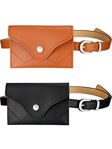 Gejoy 2 Pieces Womens Fashion Leather Belt Fanny Pack Removable Belt with Waist Pouch Mini Purse Travel Cell Phone Bag(Black Camel)