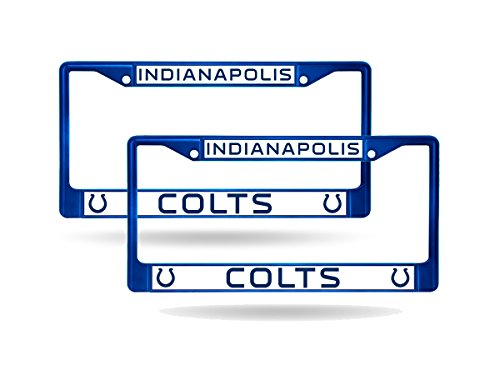 Rico Indianapolis Colts Blue Painted Chrome Metal (2) License Plate Frame Set