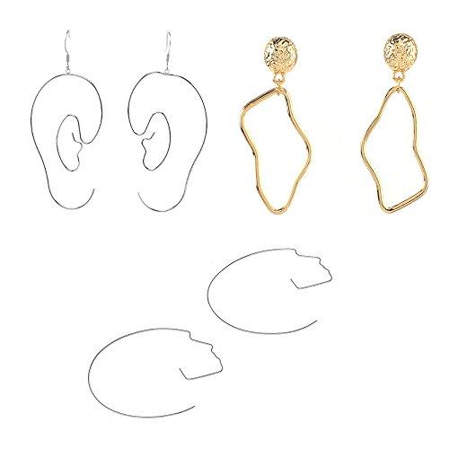 - Mrotrida Abstract Raindrop Ear Shape Dangle Earring Fashion Face Shape Hoop Earrings 3 Pair for Women's Party Silver
