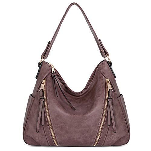 UTO Women Handbag PU Leather Purse Double Zipper Hobo Style 3 Ways Shoulder Bag 5