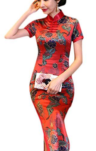 Cheongsam Silk Split Classy Printing Women Maxi Fit Dress Pattern20 Short Coolred Trim Sleeve 0Tqv8Zx6w
