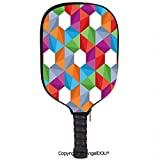 AngelDOU Geometric Lightweight Neoprene Pickleball Paddle/Racket Cover Case Colorful Retro Geometric Triangle and Polygonal Mosaic Pattern Interior Design Boho Decor Durable and Portable.Multi