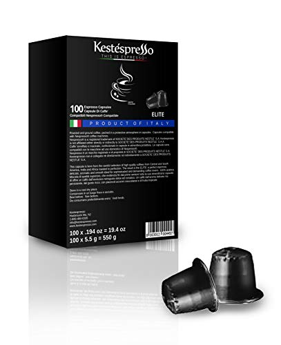 Nespresso Compatible Espresso Coffee Capsules 100 Pods Single Blend ELITE Product of Italy for Original Line Machines
