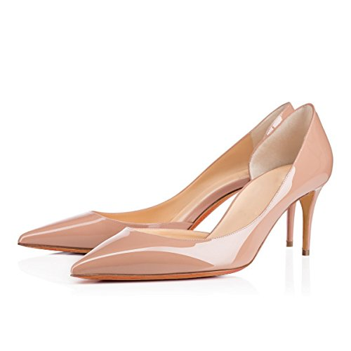 Slip Life Women's Toe On for Nude Court Daliy Basic Pointed Shoes Mid Solid D'Orsay Patent Shoes Shoes Heel uBeauty I4dnwq0xa0