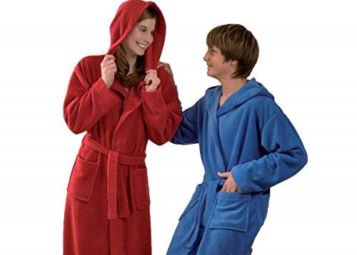 Betz Kinderbademantel Bademäntel Jungen Mädchen mit Kapuze Uni Größen 128 - 176 Farben blau und rot, Größe 164 rot