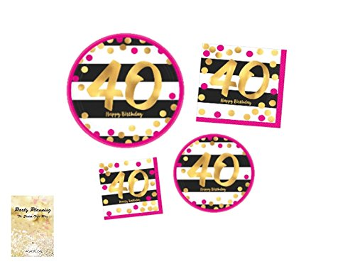 40th Birthday Party Supply Pack, Pink and Gold Design, Bundle of 4 Items: Dinner Plates, Dessert Plates, Lunch Napkins and Beverage Napkins by Combined Brands