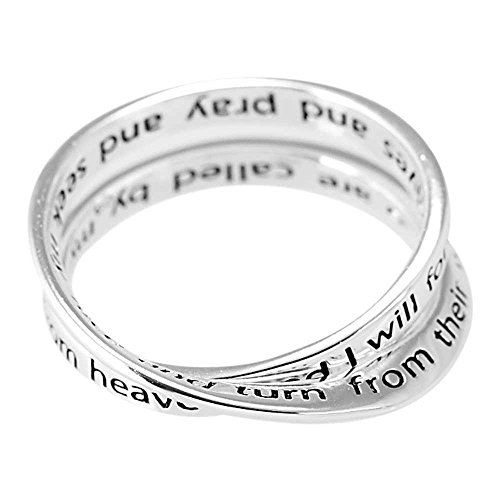Dicksons Pray and Seek My Face Double Mobius Womens Silver-Plated Scripture Ring