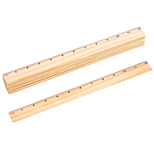 Outus 12 Pieces Wooden Rulers Double-sided Ruler Measuring Rulers Wood, Inch Scales (Ruler Inches And Centimeters)