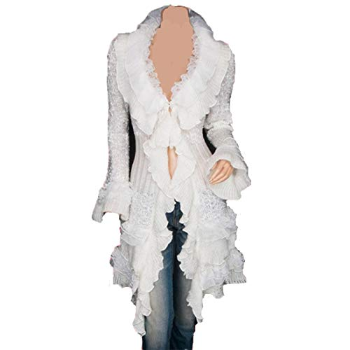 LY-VV Womens Victorian Cardigan Gothic Steampunk Slim Fit Lace Cardigan White